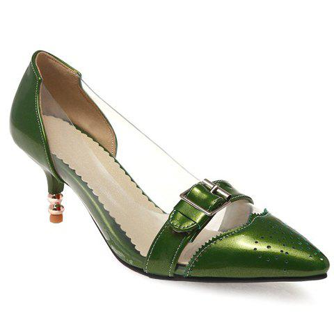 Fashion Patent Leather and Buckle Design Pumps For WomenShoes<br><br><br>Size: 39<br>Color: GREEN