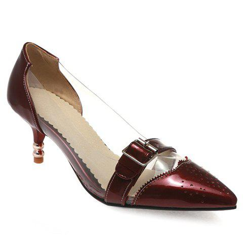 Fashion Patent Leather and Buckle Design Pumps For Women - RED 34