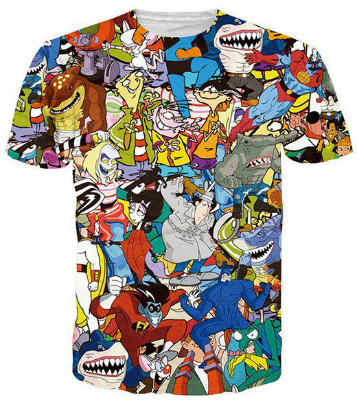 Funny 3D Cartoon Print Round Neck Short Sleeves Men's T-Shirt - M COLORMIX