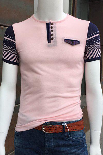 Round Neck Buttons Embellished Geometric Print Spliced Short Sleeve T-Shirt For Men - PINK M