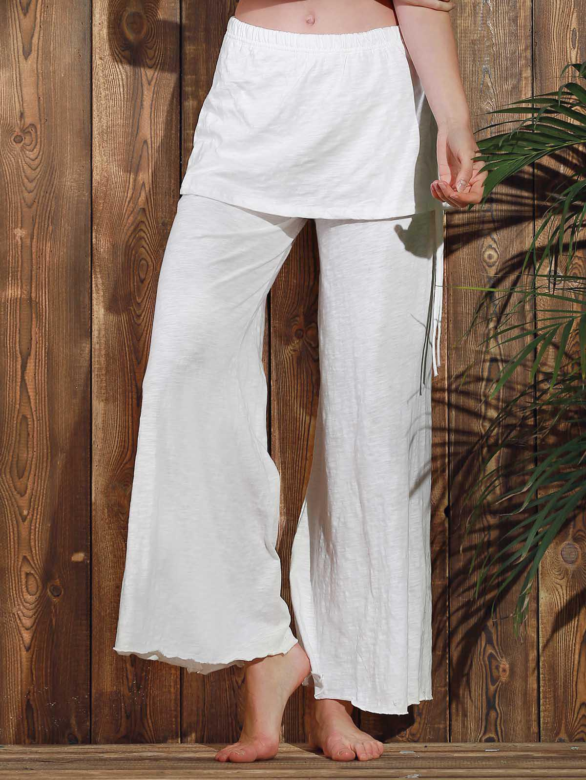 Chic Solid Color Elastic Waist Pants For Women - WHITE S