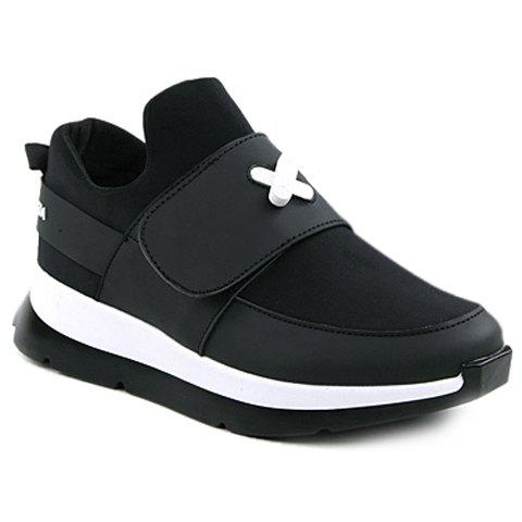 Fashionable  and PU Leather Design Men's Athletic Shoes - WHITE/BLACK 44