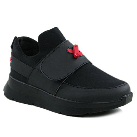 Fashionable  and PU Leather Design Men's Athletic Shoes - RED/BLACK 40