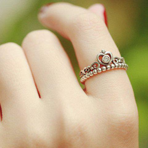 Rhinestone Crown RingJewelry<br><br><br>Size: ONE-SIZE<br>Color: SILVER