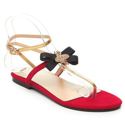 Sweet Bowknot and Flip Flops Design Sandals For Women - WINE RED 38