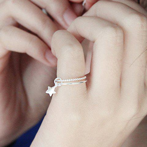 Star Pendant Layered Ring - SILVER ONE-SIZE