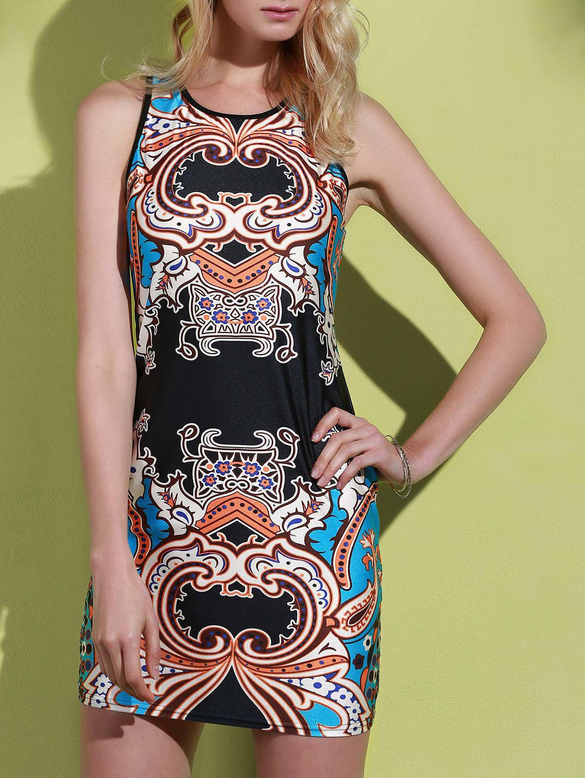 Alluring Sleeveless Round Neck Printed Women's Dress - COLORMIX M