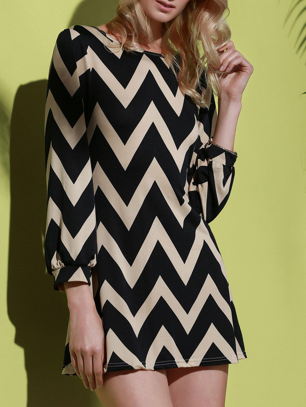 Fashionable Color Block Zigzag Print Dress For Women - BLACK S