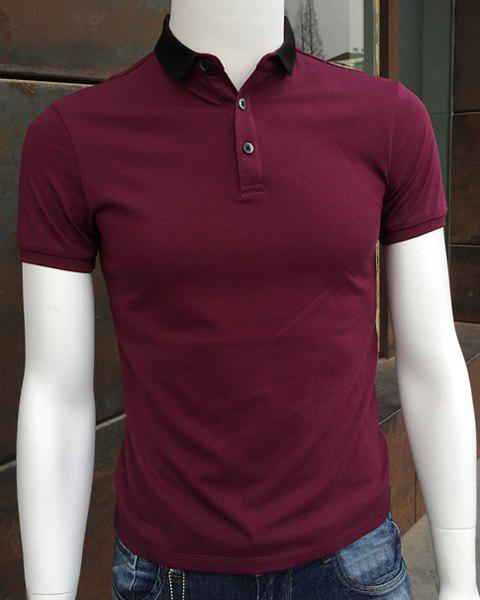 Elegant Turn-Down Collar Hit Color Splicing Short Sleeve Men's Polo T-Shirt - WINE RED 2XL