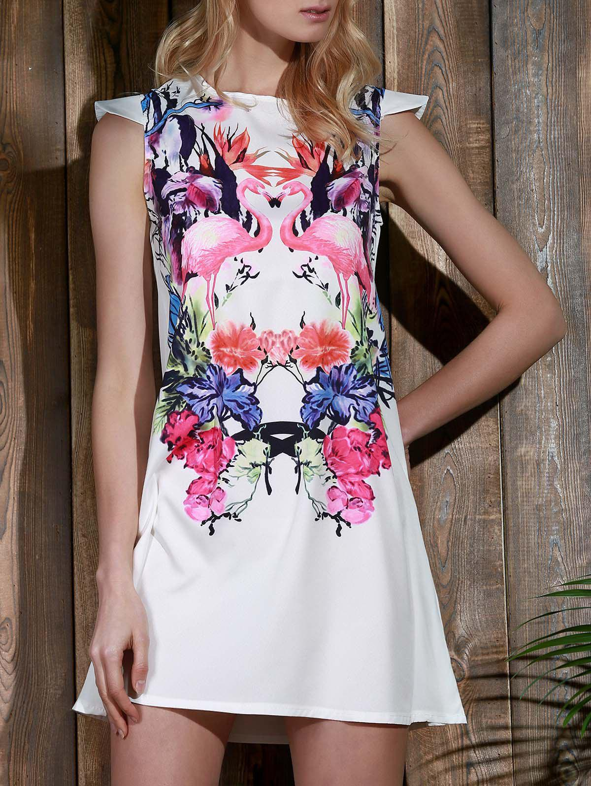 Buy Endearing Colorful Crane Floral Printed Straight Dress Women WHITE