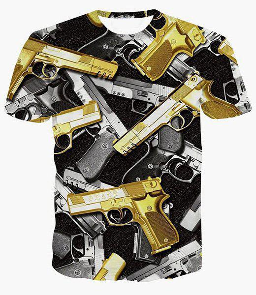 Vogue Round Neck 3D Gun Print Short Sleeves Cool T-Shirt - COLORMIX S