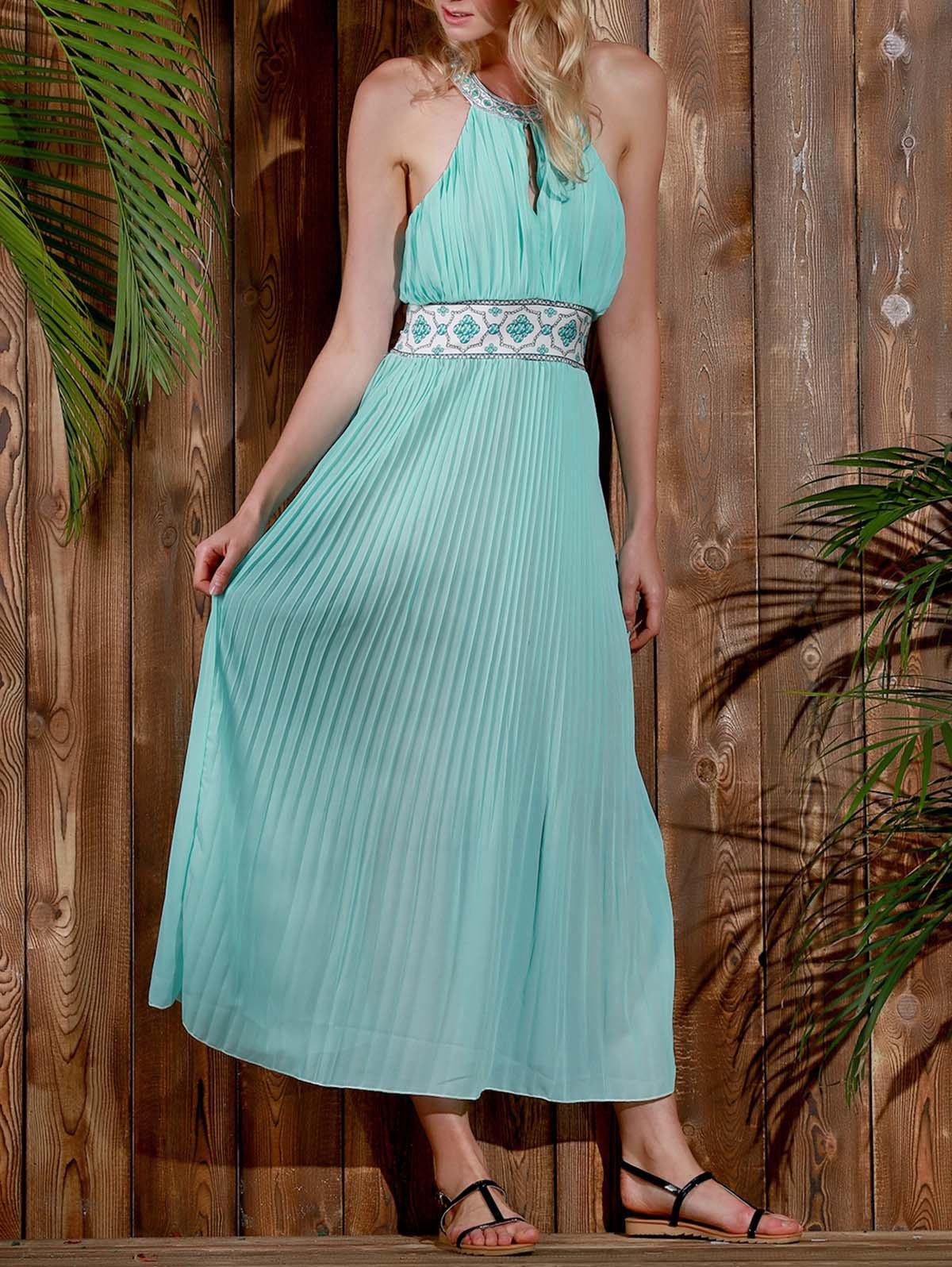 Elegant Halter Print Spliced Backless Hollow Out Women's Sage Maxi Dress - LIGHT BLUE S
