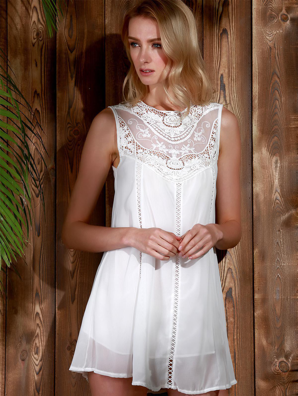Trendy Style Round Collar Lace Splicing Chiffon Sleeveless Women's Dress - WHITE XL