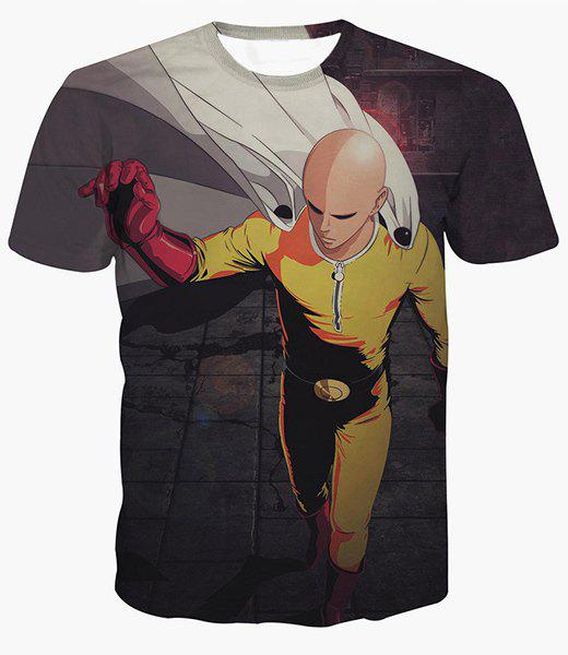 3D Hero Monk Print Short Sleeves Round Neck Men's T-Shirt - COLORMIX S