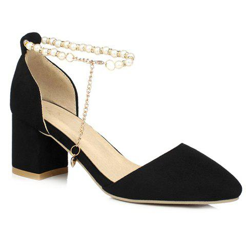 Trendy Two-Piece and Beading Design Women's Pumps - 39 BLACK