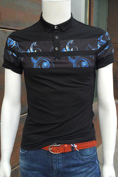 Turn-Down Collar Flower Print Spliced Short Sleeve Polo T-Shirt For Men - BLACK L