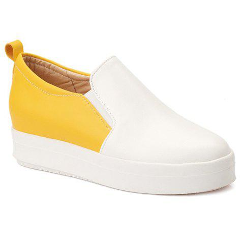 Leisure Colour Block and Elastic Design Women's Platform Shoes - YELLOW 38