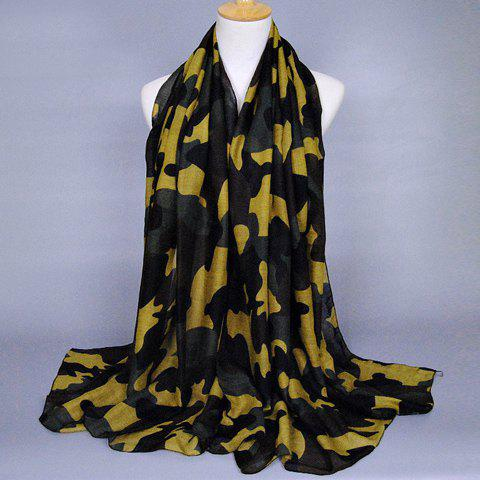 Chic Simple Camouflage Pattern Women's Voile Scarf - YELLOW