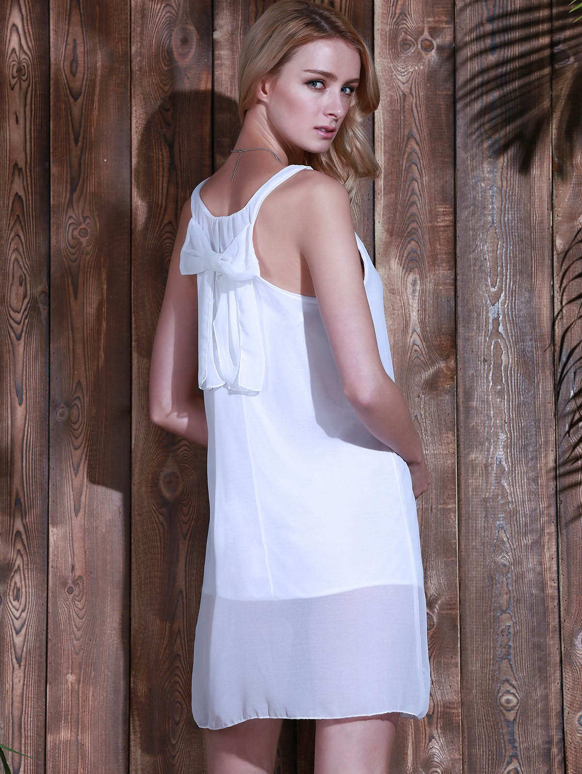 Bowknot Chiffon Mini Tank Dress - WHITE M