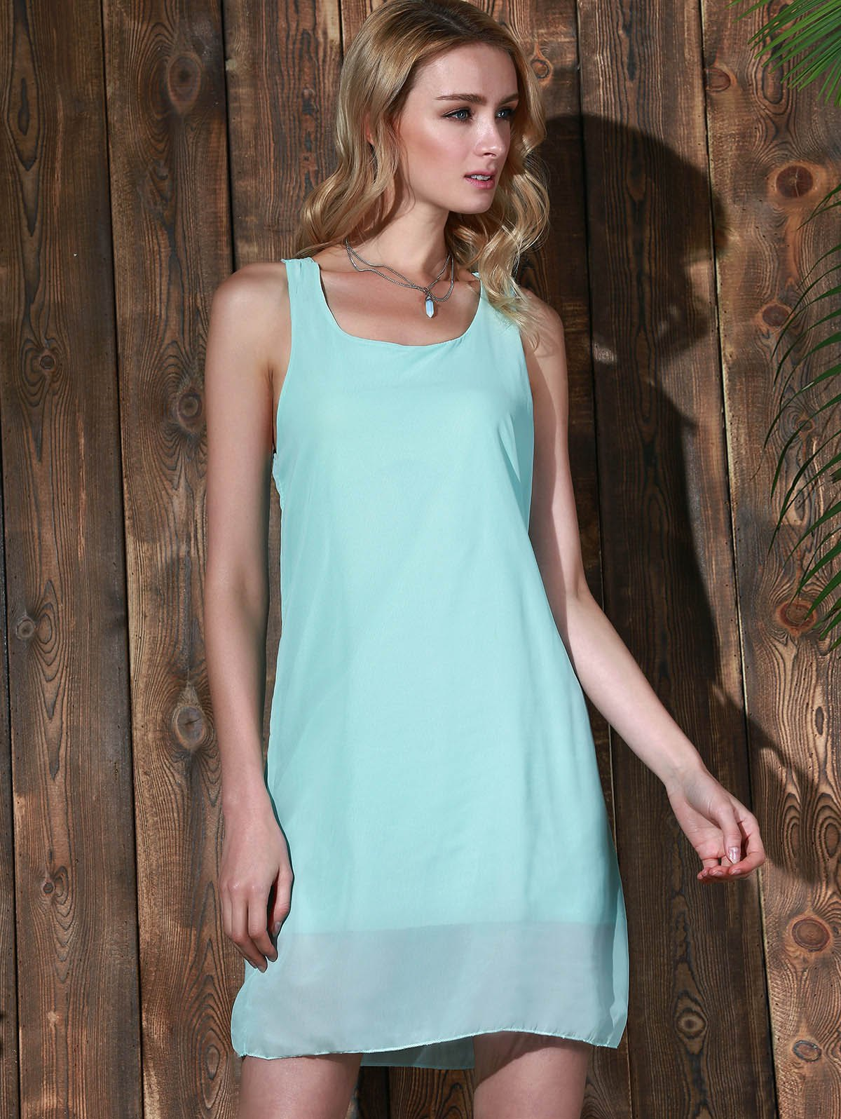 Bowknot Chiffon Mini Tank Dress - MINT GREEN L