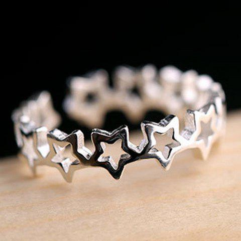 Star Hollow Out Cuff Ring - SILVER ONE-SIZE