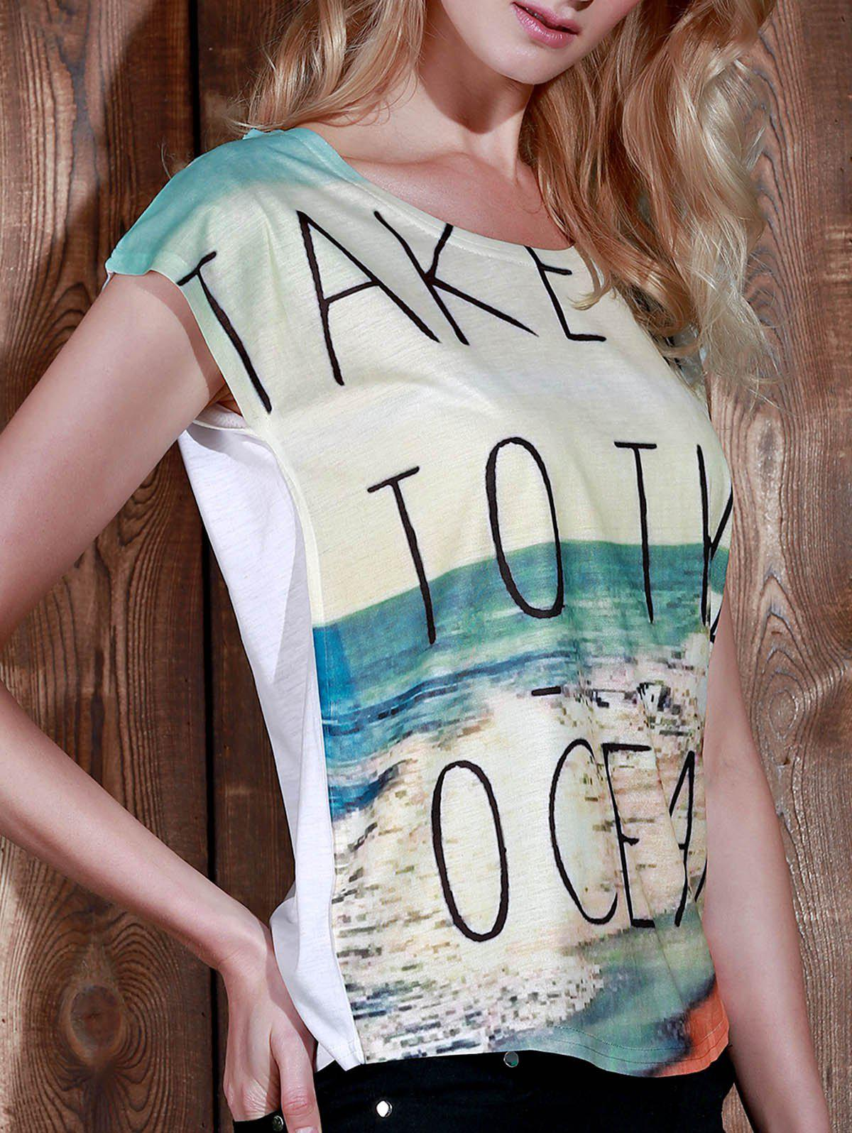Casual Women's Scoop Neck Beach Print Short Sleeve T-Shirt - BEIGE ONE SIZE(FIT SIZE XS TO M)