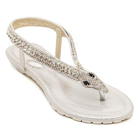 Fashionable Rhinestones and Flip Flop Design Women's Sandals - SILVER 35
