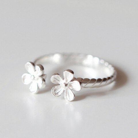 Chic Simple Style Floral Cuff Ring For Women - SILVER ONE-SIZE