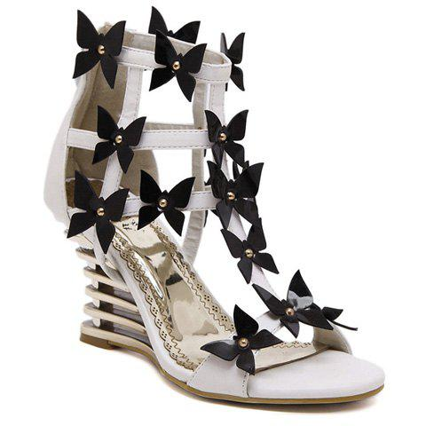 Trendy Wedge Heel and Bowknot Design Women's Sandals - WHITE 38