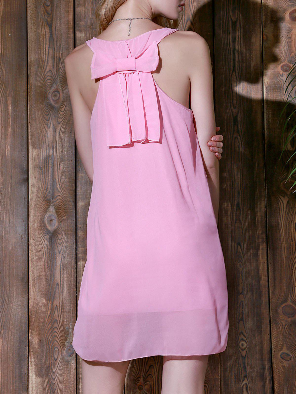 Bowknot Chiffon Mini Tank Dress - PINK M