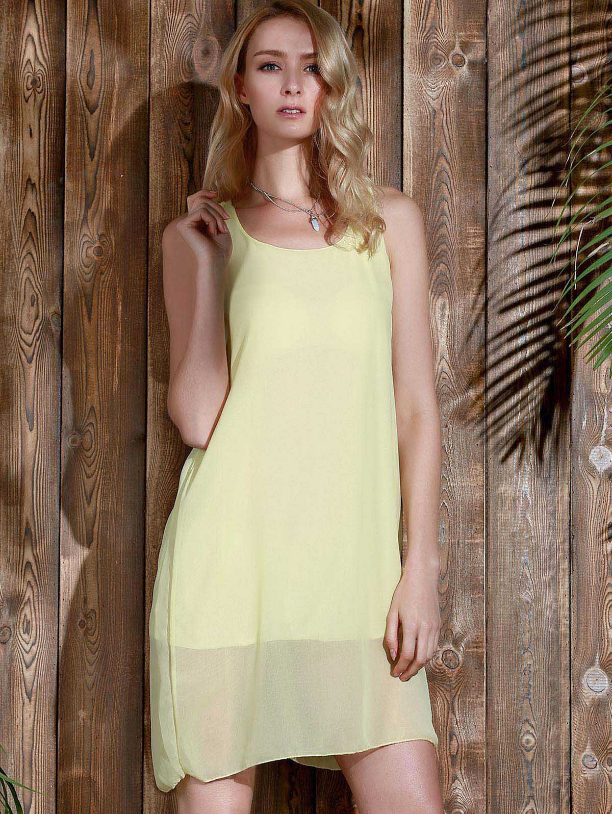 Bowknot Chiffon Mini Tank Dress - YELLOW L
