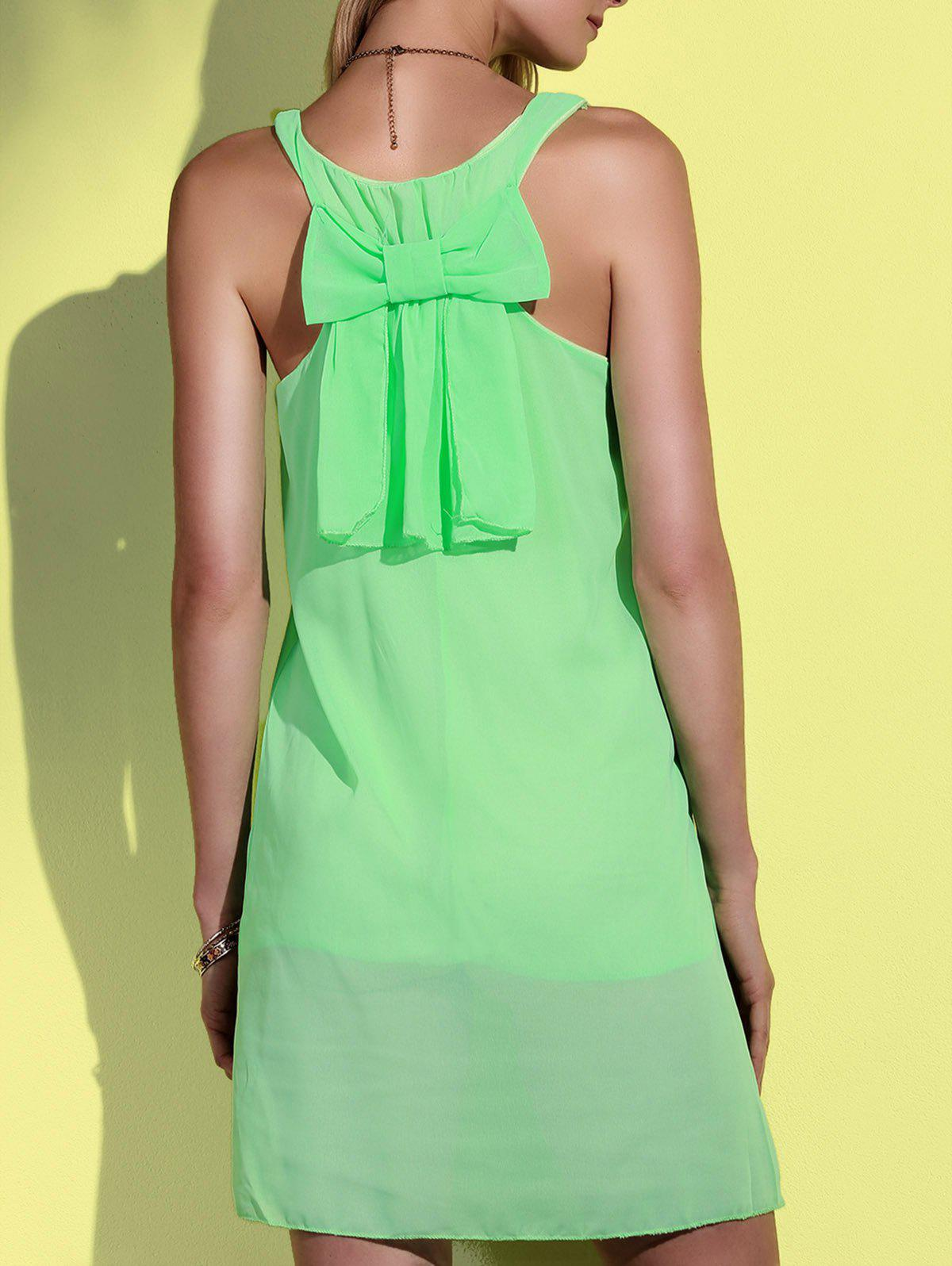 Bowknot Chiffon Mini Tank Dress - NEON GREEN L