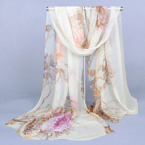 Chic Handpainted Peonies and Leaves Pattern Women's Chiffon Scarf