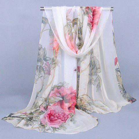 Chic Handpainted Peonies and Leaves Pattern Women's Chiffon Scarf - RED