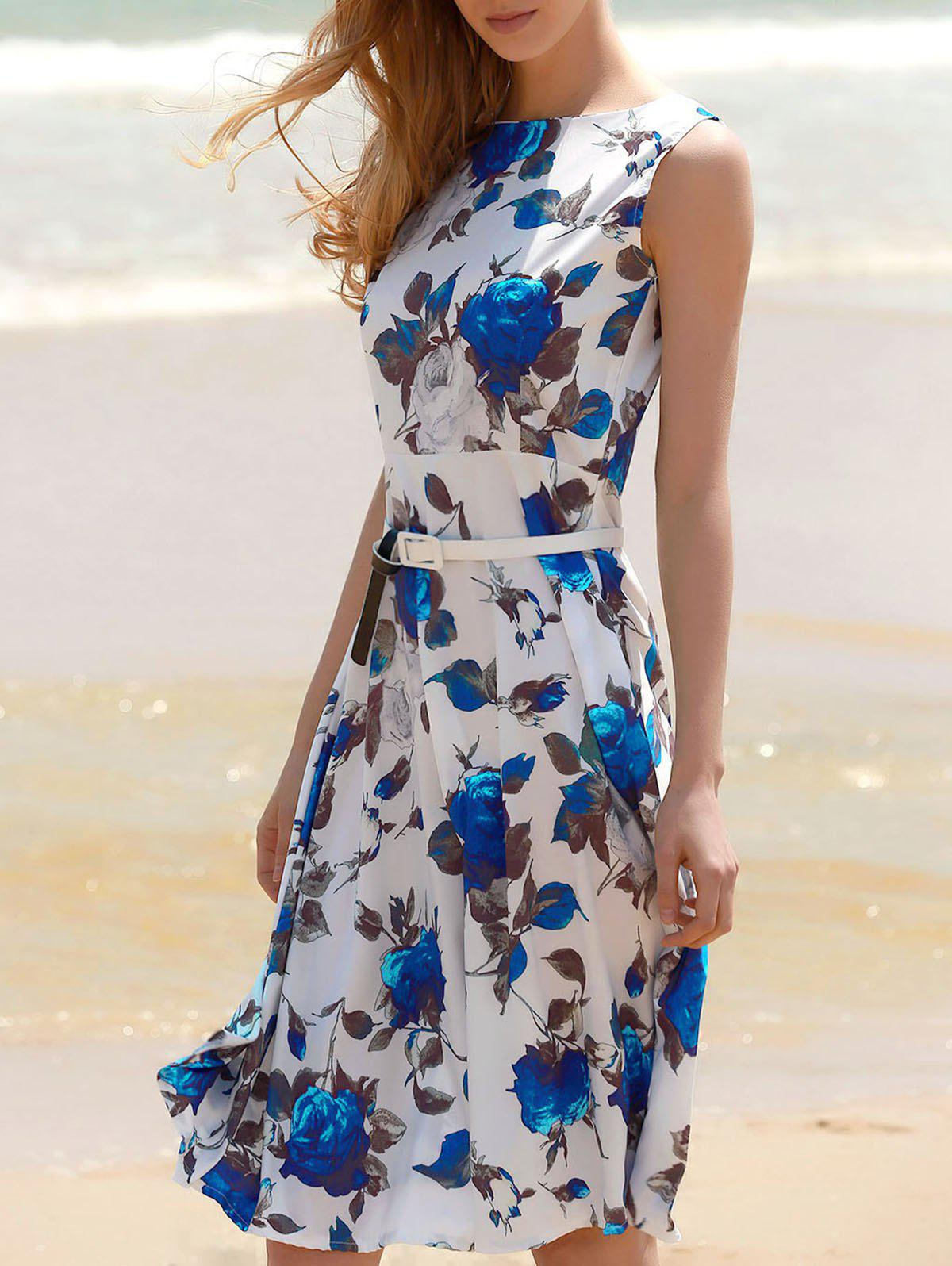 Vintage Sleeveless Floral Print Belted Dress For Women