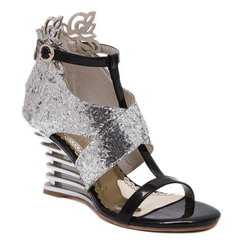 Party Sequins and Wedge Heel Design Women's Sandals - SILVER 38