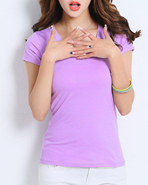 Cute V-Neck Short Sleeve Women's Solid Color T-Shirt