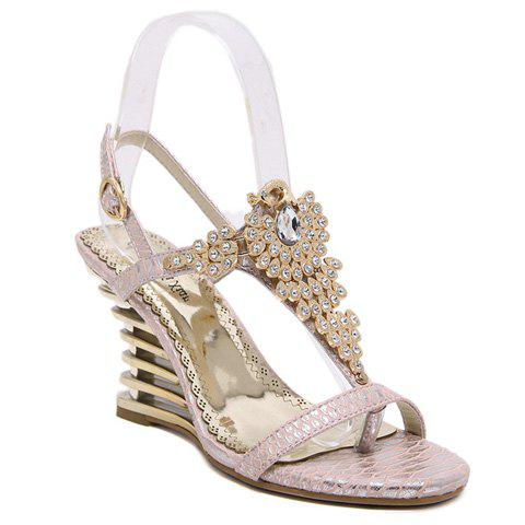Gorgeous Rhinestone and Peacock Design Women's Sandals - PINK 35