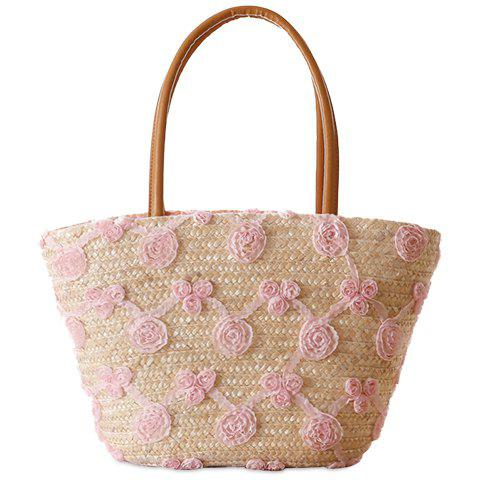 Sweet Weaving and Flowers Design Tote Bag For Women - PINK