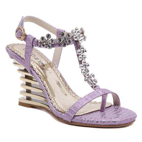 Trendy Rhinestone and T-Strap Design Women's Sandals - VIOLET 36