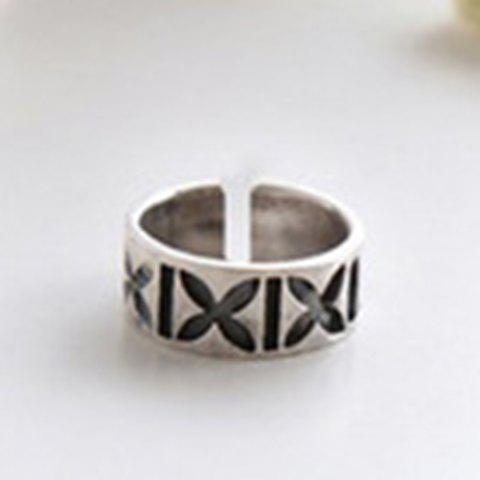Chic Simple Style Carving Cuff Ring For Women - SILVER ONE-SIZE