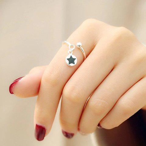 Chic Simple Style Round Star Cuff Ring For Women - SILVER ONE-SIZE