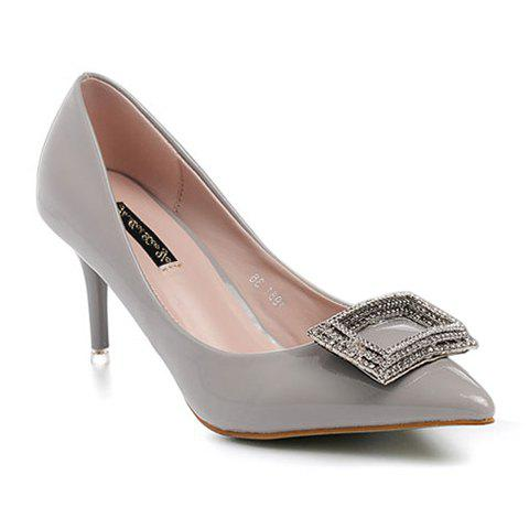 Stylish Patent Leather and Rhinestones Design Women's Pumps