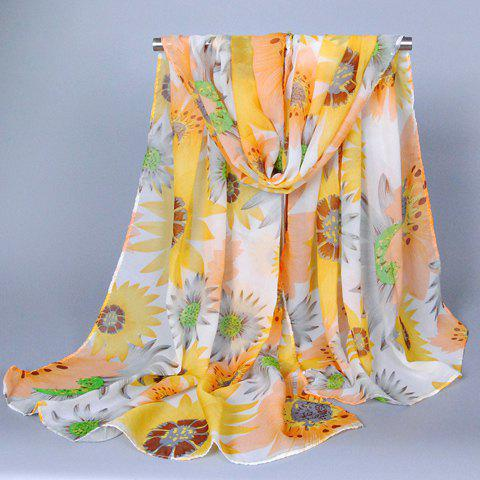 Chic Fulled Sunflowers Pattern Women's Chiffon Scarf - YELLOW