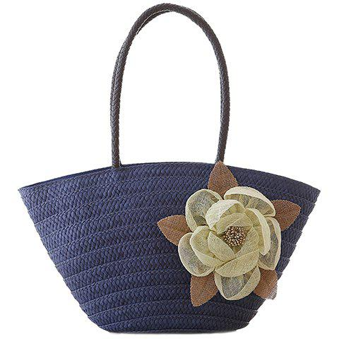 Casual Weaving and Flower Design Shoulder Bag For Women - BLUE