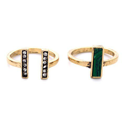 2PCS Vintage Layered Rhinestone Geometric Rings For Women - GOLDEN ONE-SIZE