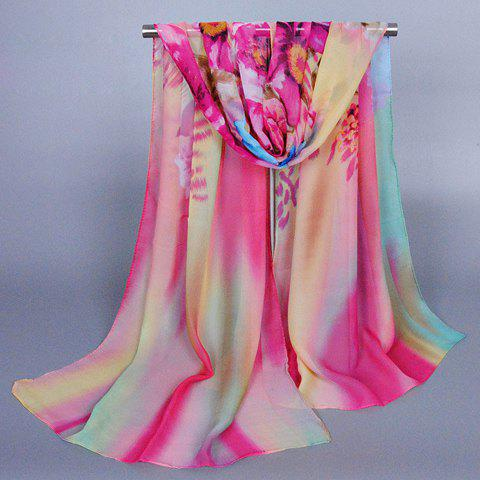 Chic Handpainted Flower Pattern Multicolor Women's Chiffon Scarf - ROSE