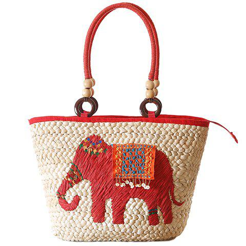 Fashion Elephant Pattern and Weaving Design Tote Bag For Women - RED