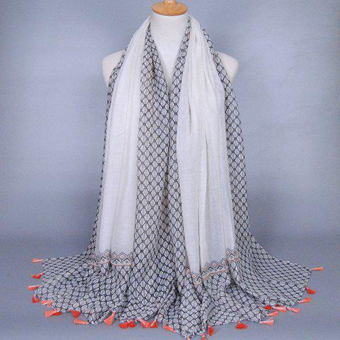 Chic Small Tassel Embellished Rhombus Mesh Pattern Women's Voile Scarf - WHITE