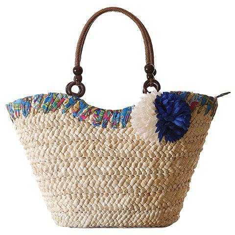 Fresh Style Zipper and Weaving Design Tote Bag For Women - BLUE